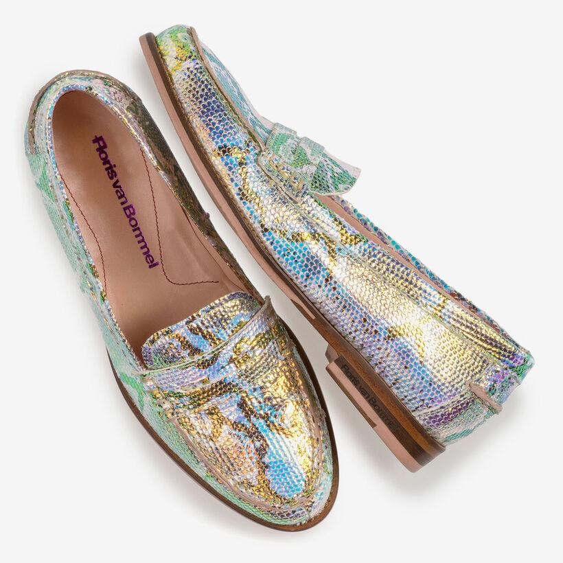 Leren loafer met groen/gouden metallicprint