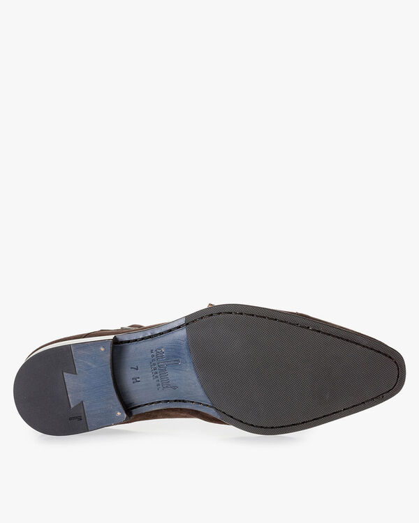 Dark brown suede leather double monk