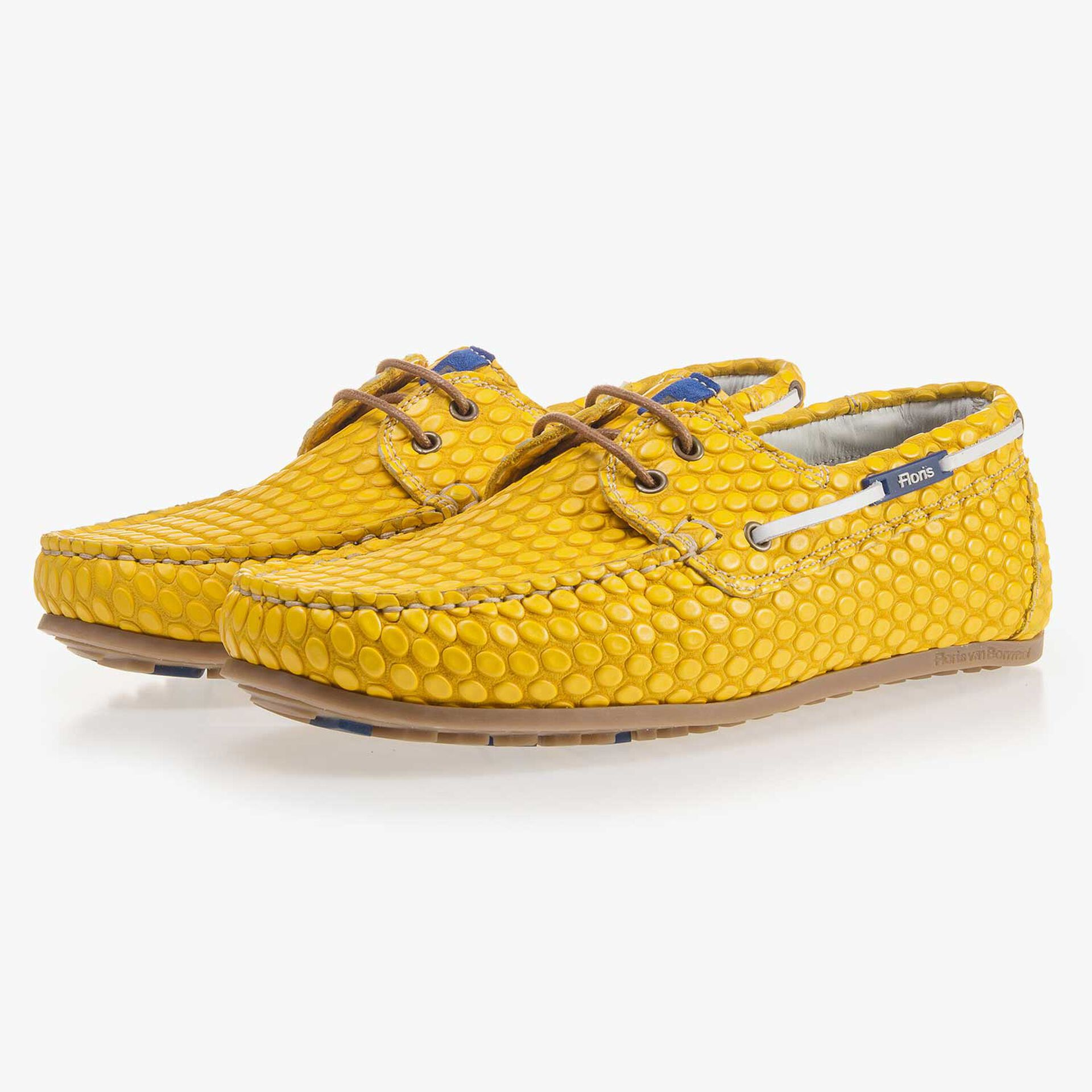 Yellow, printed boat shoe made of leather