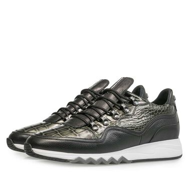 Premium printed metallic leather sneaker