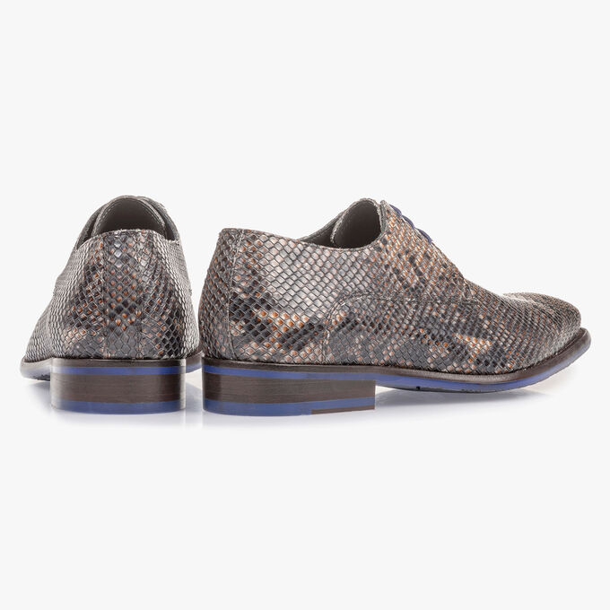 Grey and brown lace shoe with snake print