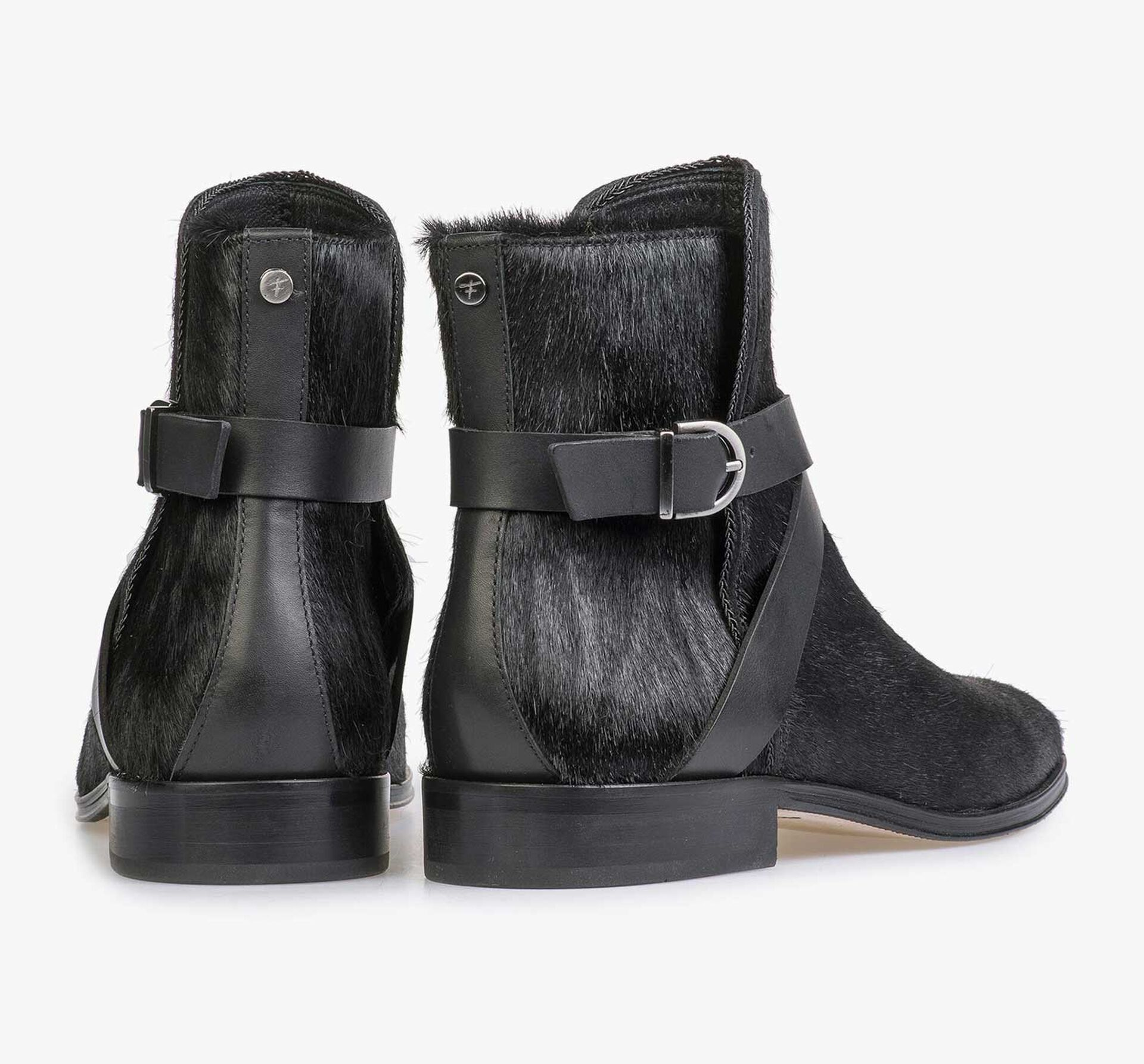 Zwarte ponyhair chelsea boot