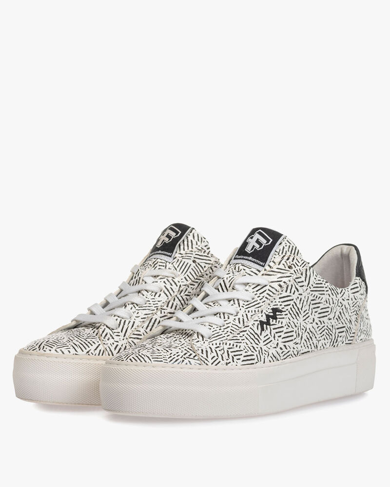 Sneaker zigzag print zwart/wit