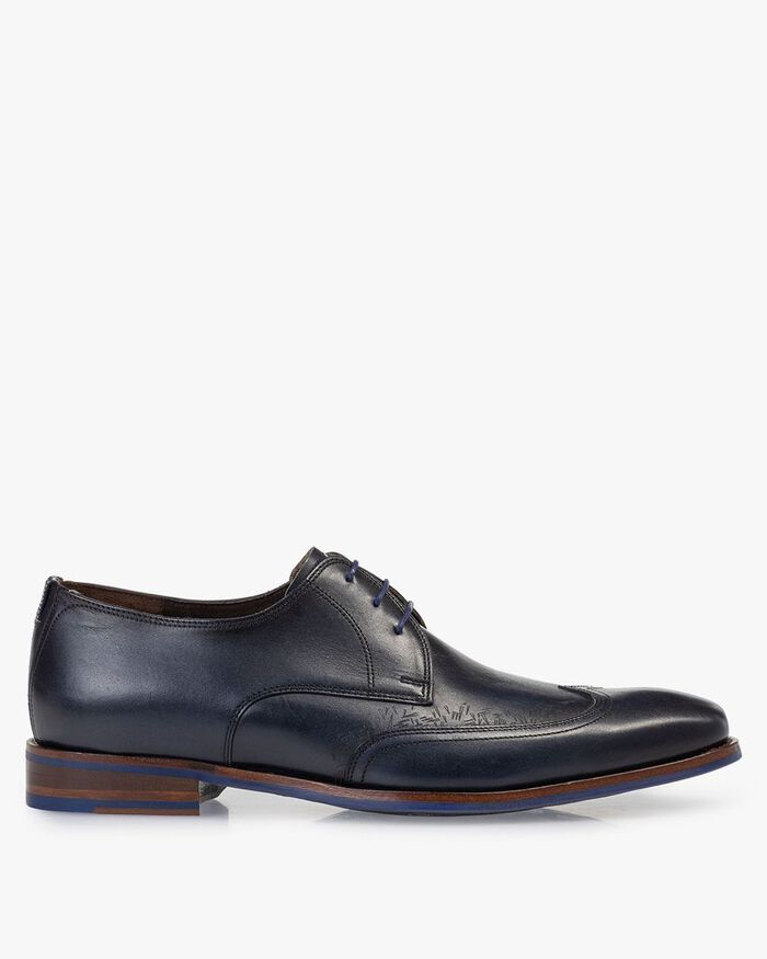 Lace shoe blue calf leather