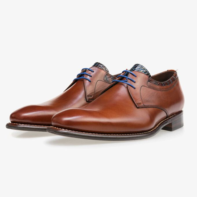 Floris van Bommel medium brown leather men's lace-up shoe