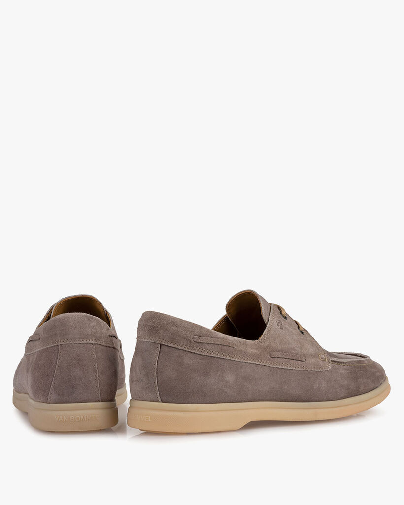 Boat shoe suede leather grey