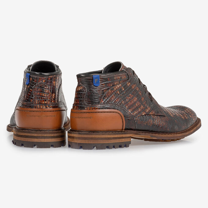 Crepi boot lizardprint cognac