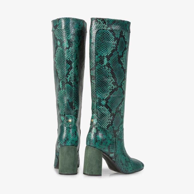Green high boots with snake print