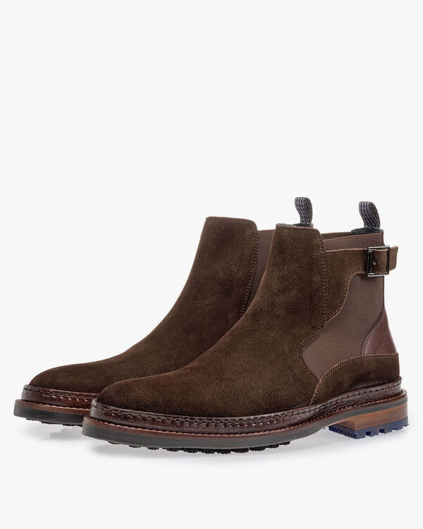 Chelsea boot dark brown suede leather