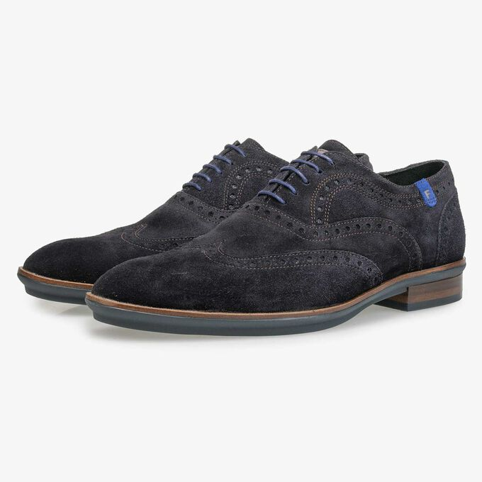 Blauwe suède brogue veterschoen