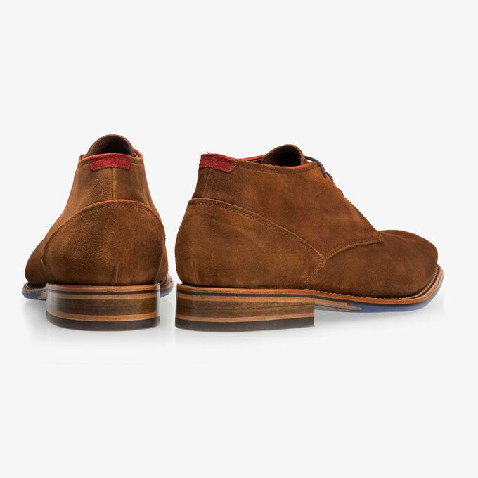 Floris van Bommel brown suede men's lace-up boot