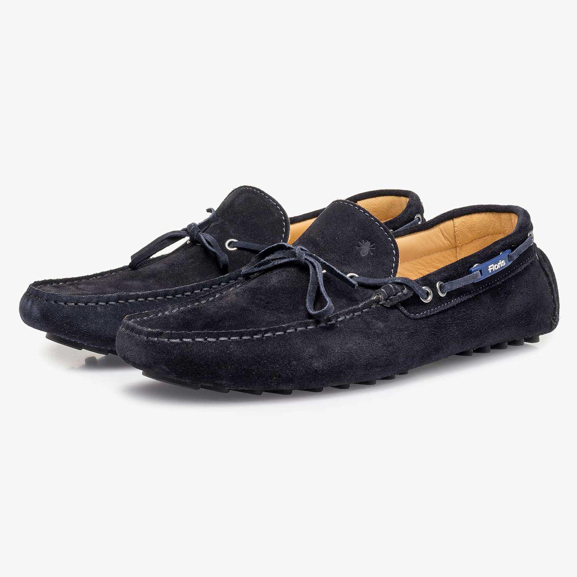 Dark blue calf suede leather moccasin