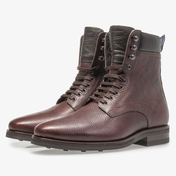 Dark brown calf leather lace boot with light structure