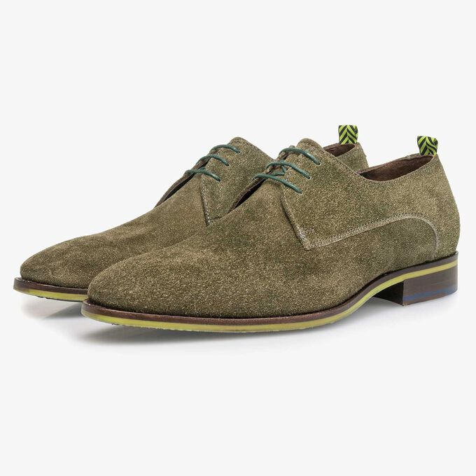 Green buffed suede leather lace shoe