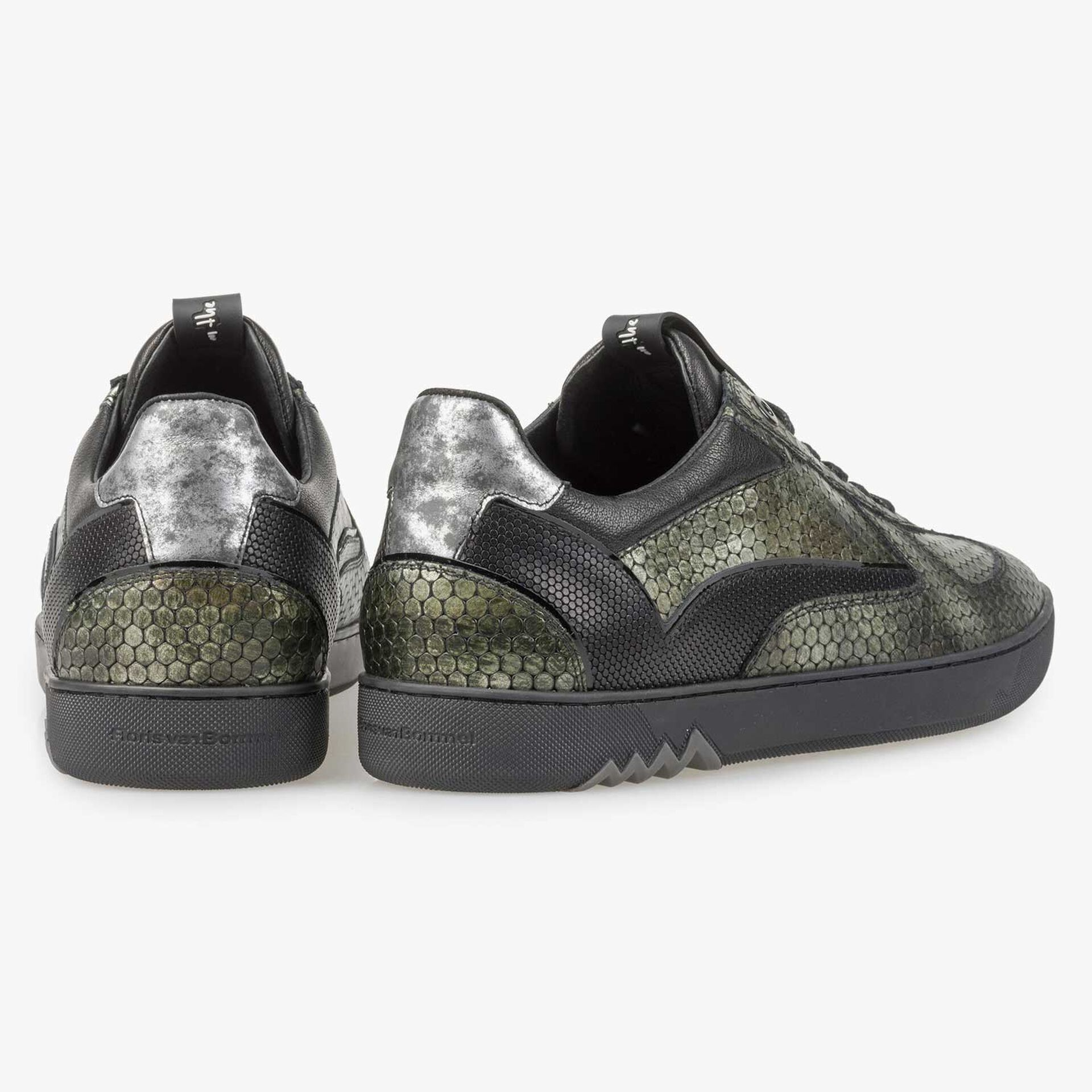Groene metallic leren sneaker met print