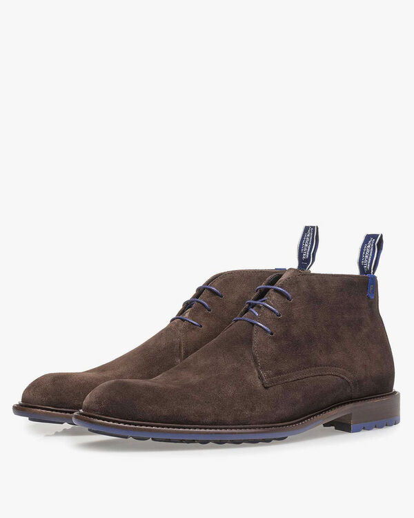 Lace boot suede leather dark brown