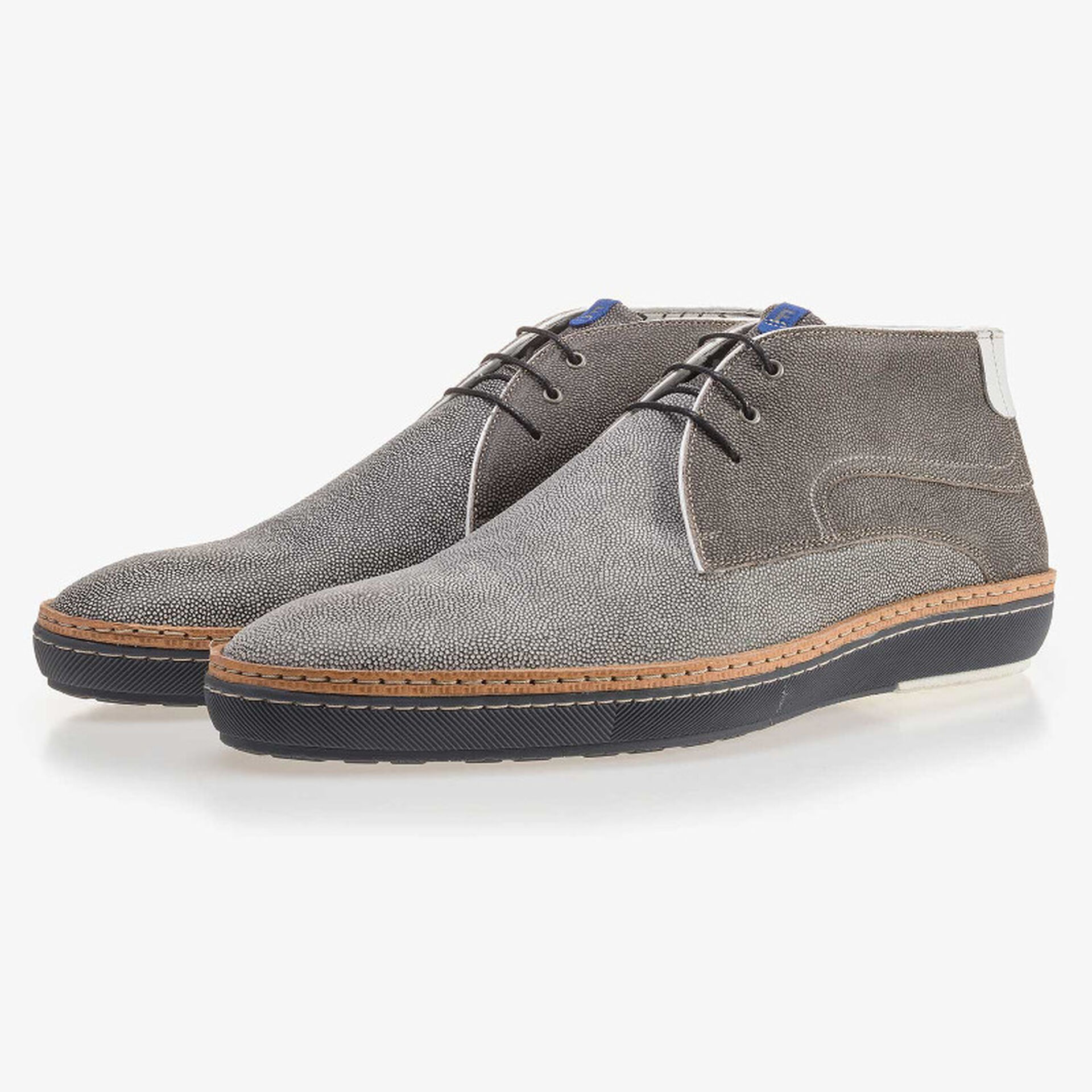 Grey suede leather lace boot with pattern