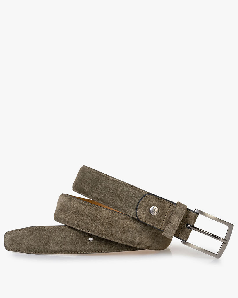 Belt green suede leather