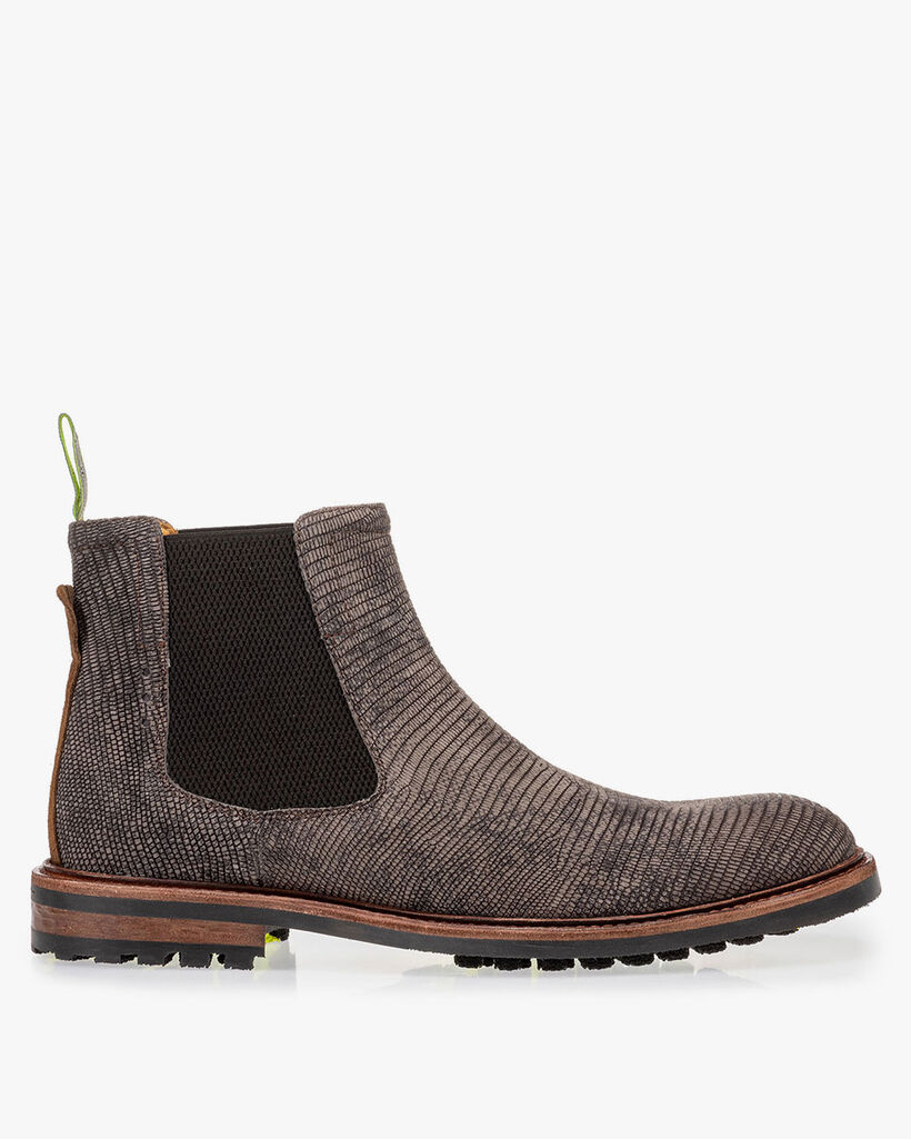 Chelsea boot reptile print dark grey