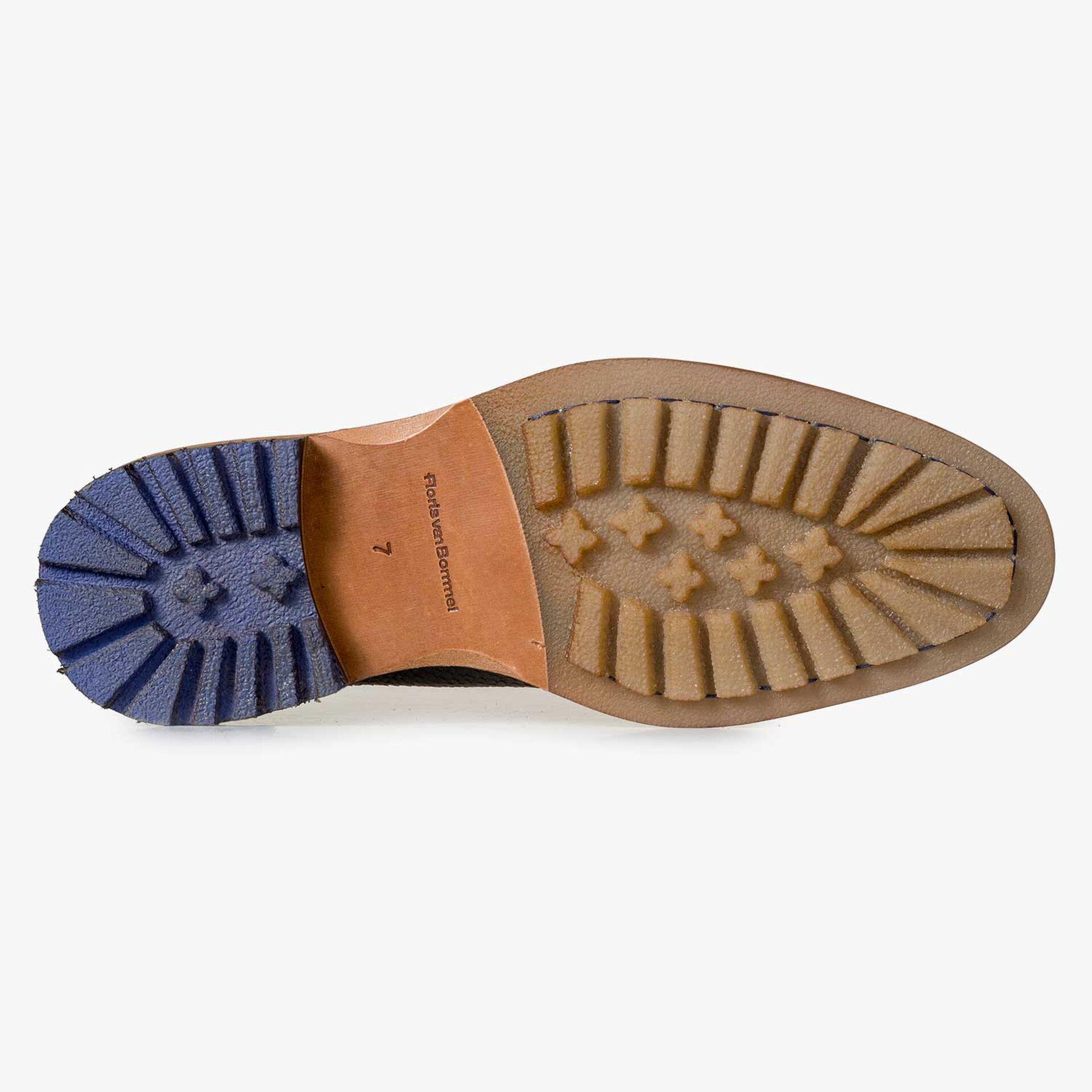 Grijze leren chelsea boot met snakeprint