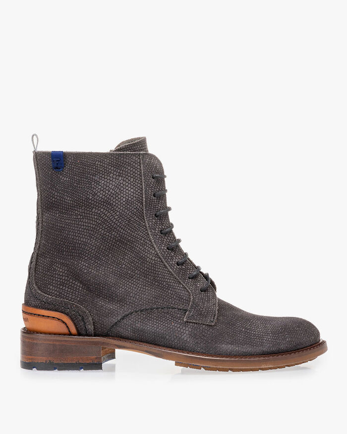 Lace boot suede leather with print