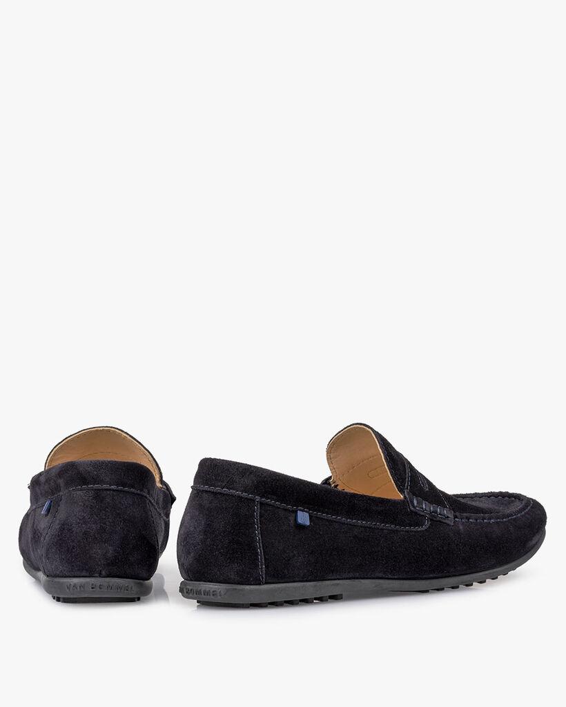 Moccasin suede leather dark blue