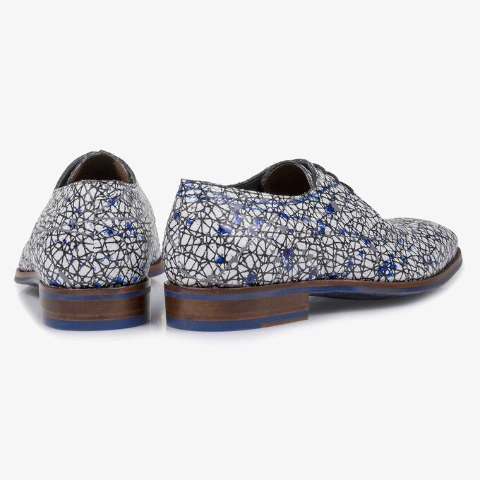 White printed calf leather lace shoe