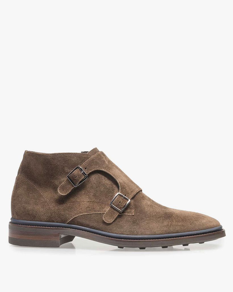 Dark taupe-coloured suede monk strap