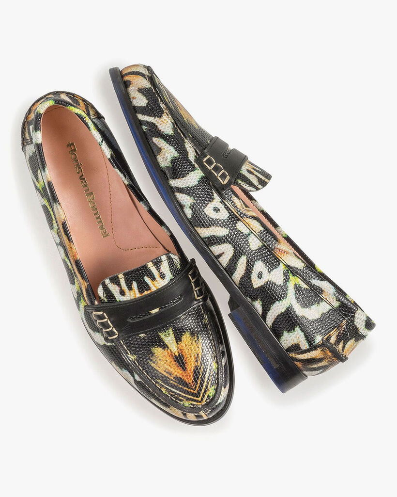 Zwarte leren loafer print