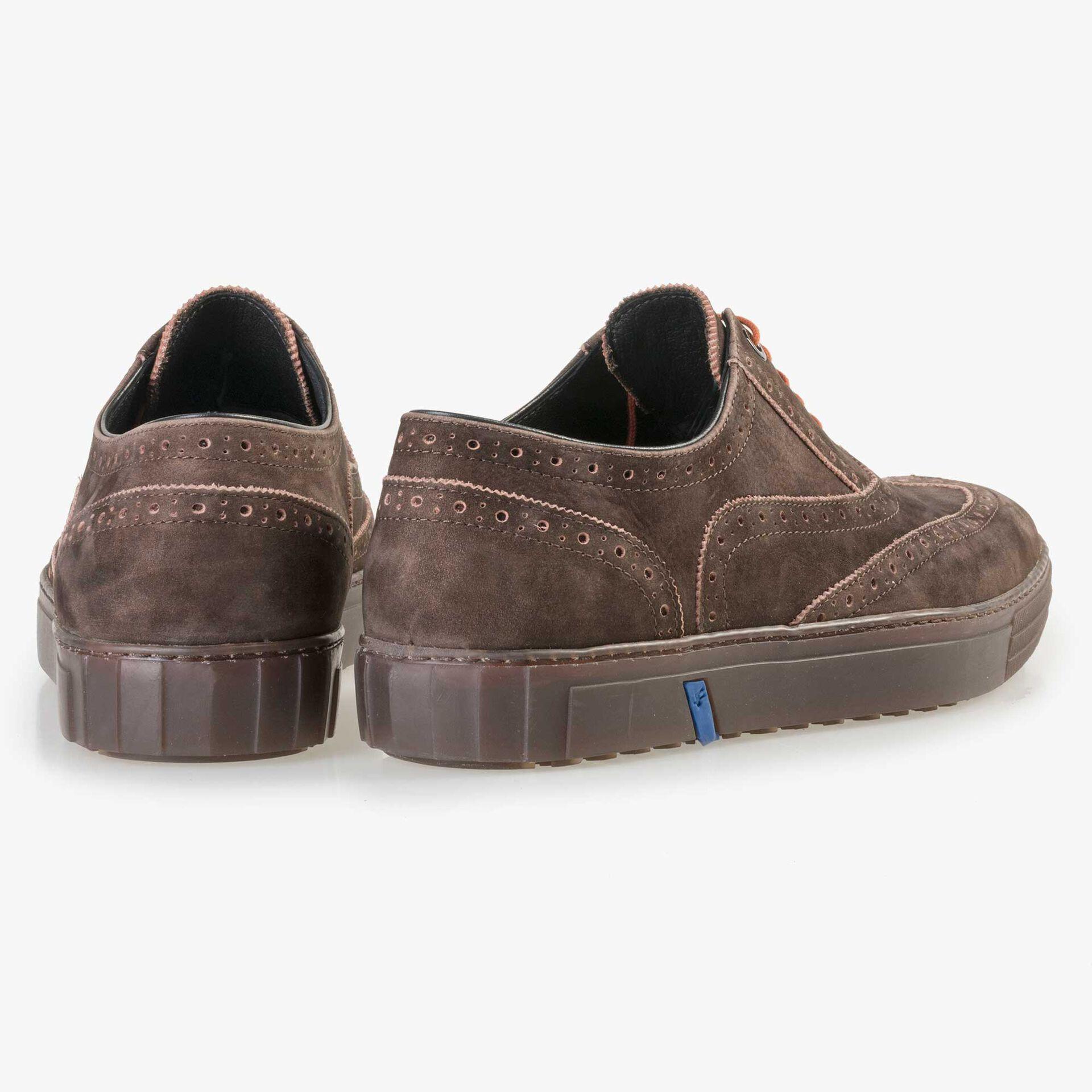 Floris van Bommel men's brown nubuck leather brogue sneaker