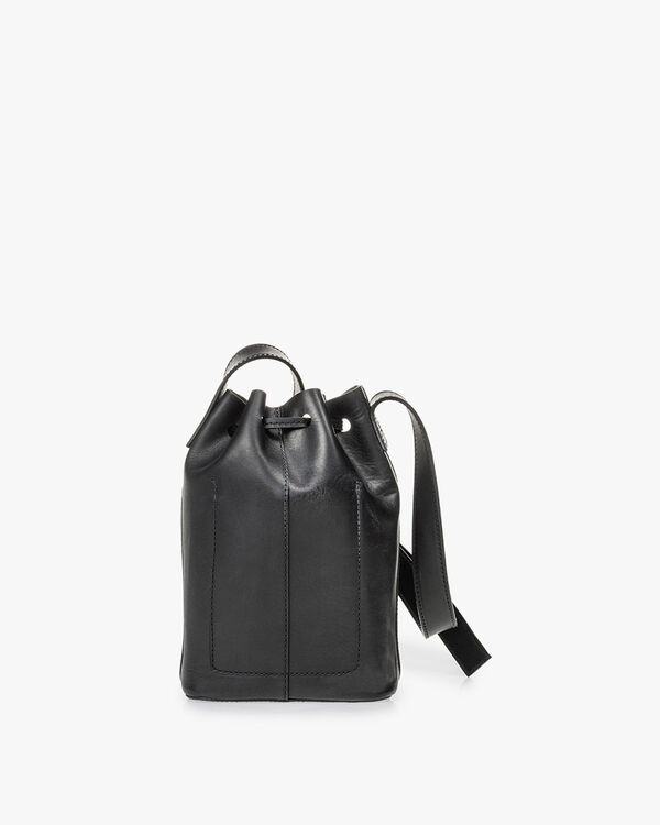 Bucket bag kalfsleer zwart
