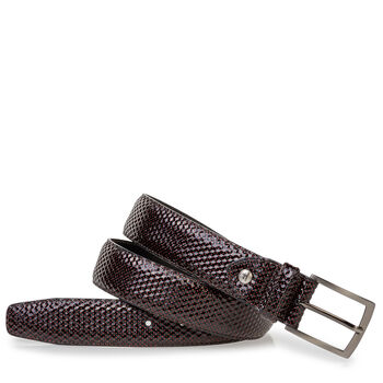 Belt printed leather red