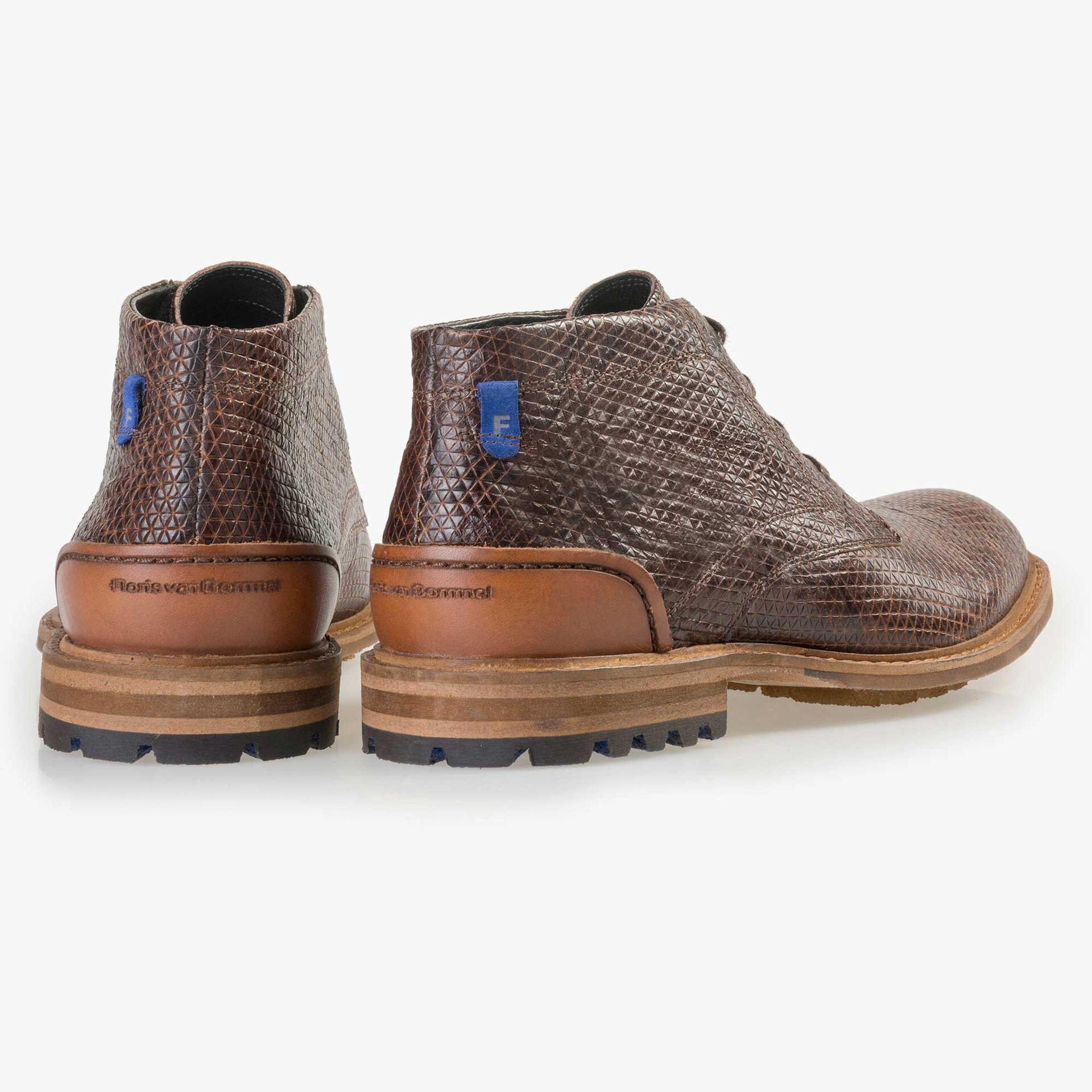 Floris van Bommel men's cognac-coloured leather lace boot finished with a snake print