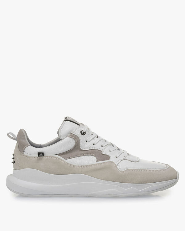 White sneaker with off-white suede leather