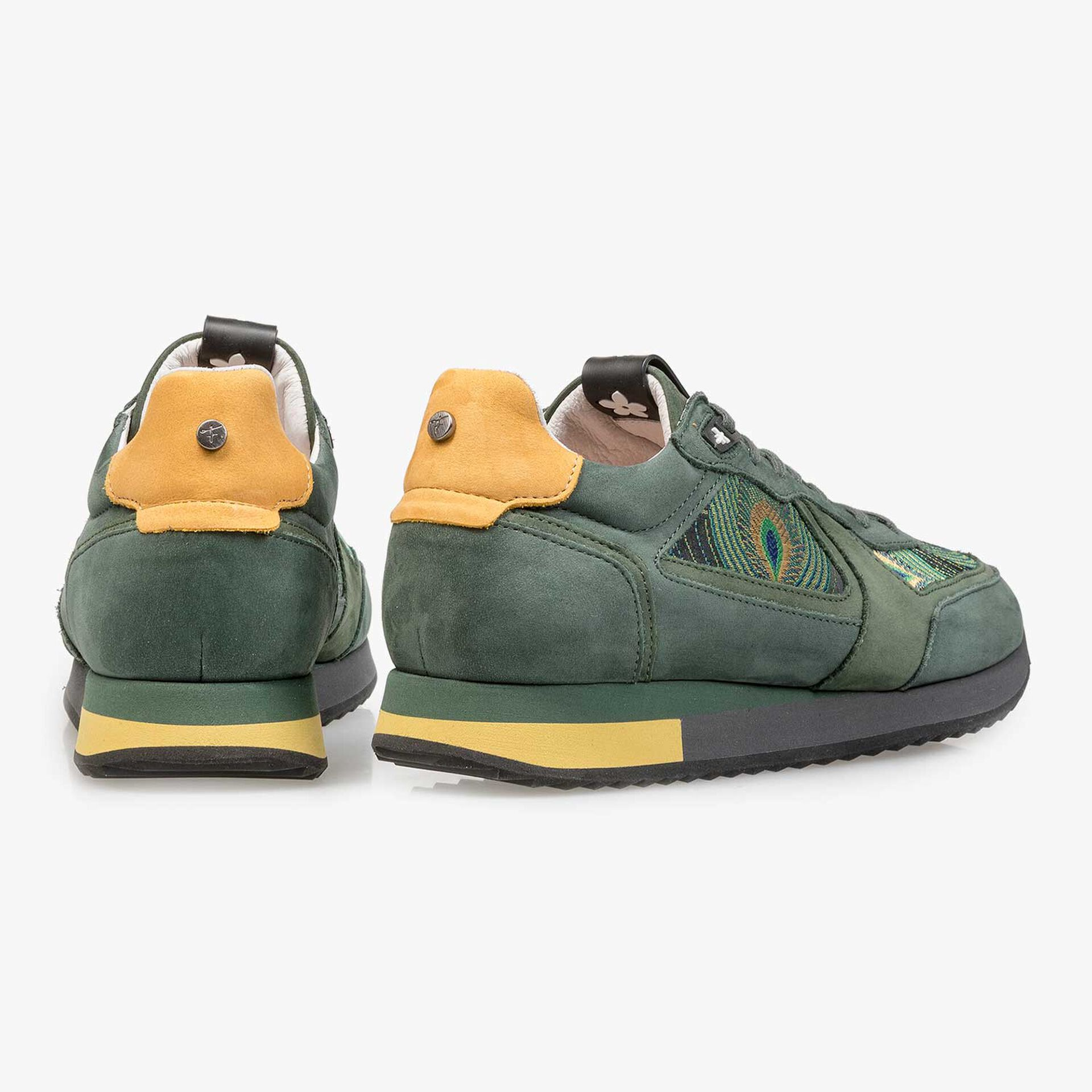 Nubuckleren sneaker met pauwenprint