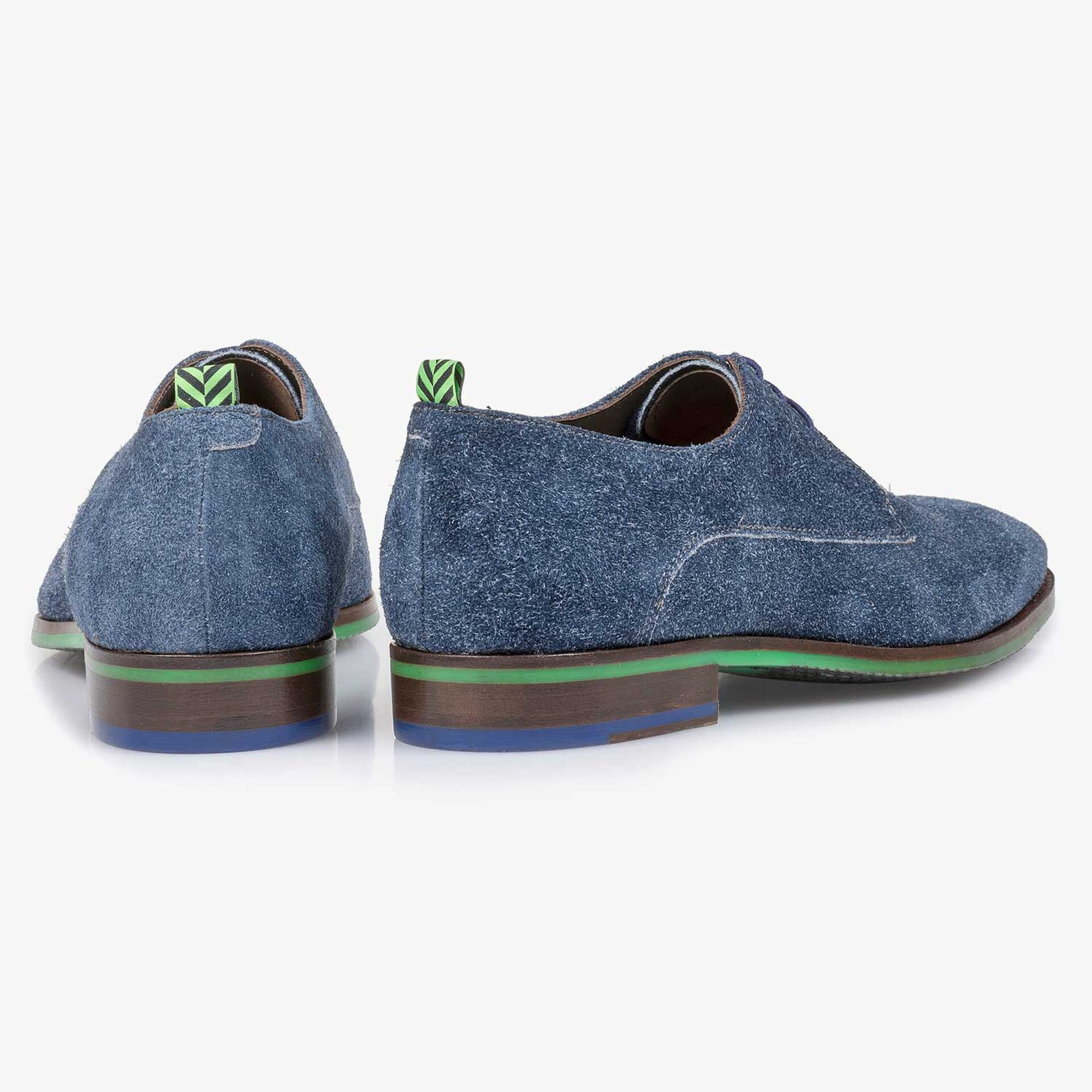 Blue buffed suede leather lace shoe