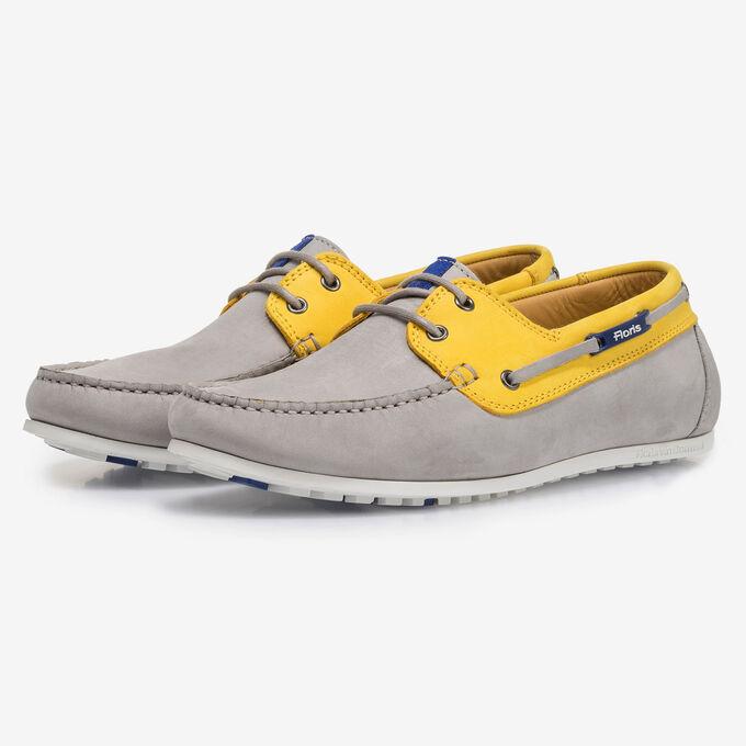 Grey and yellow nubuck leather boat shoe