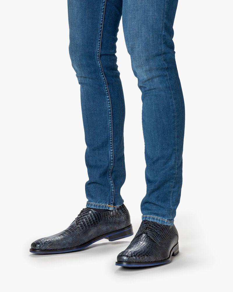Lace shoe metallic dark blue