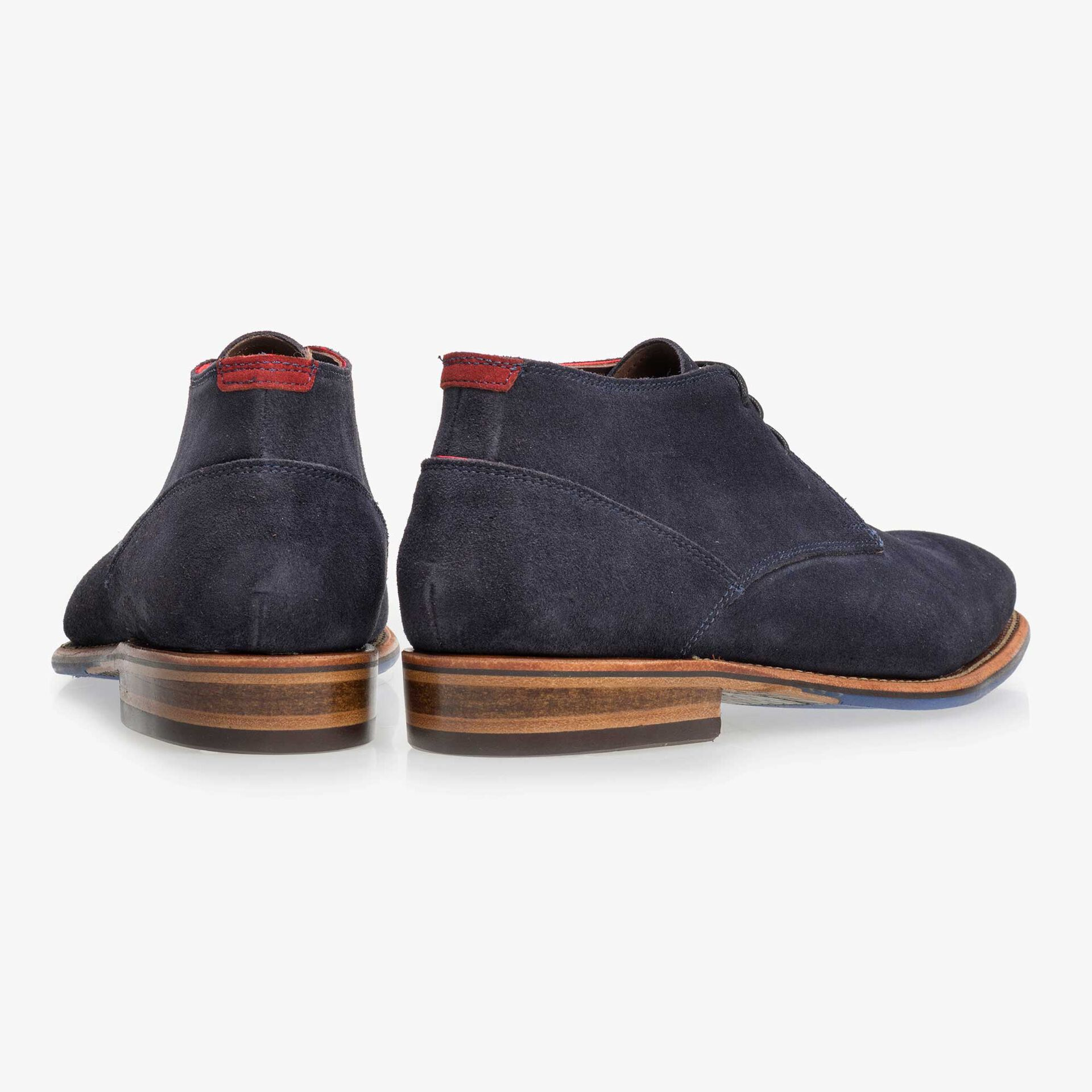 Blue mid-high suede leather lace boot