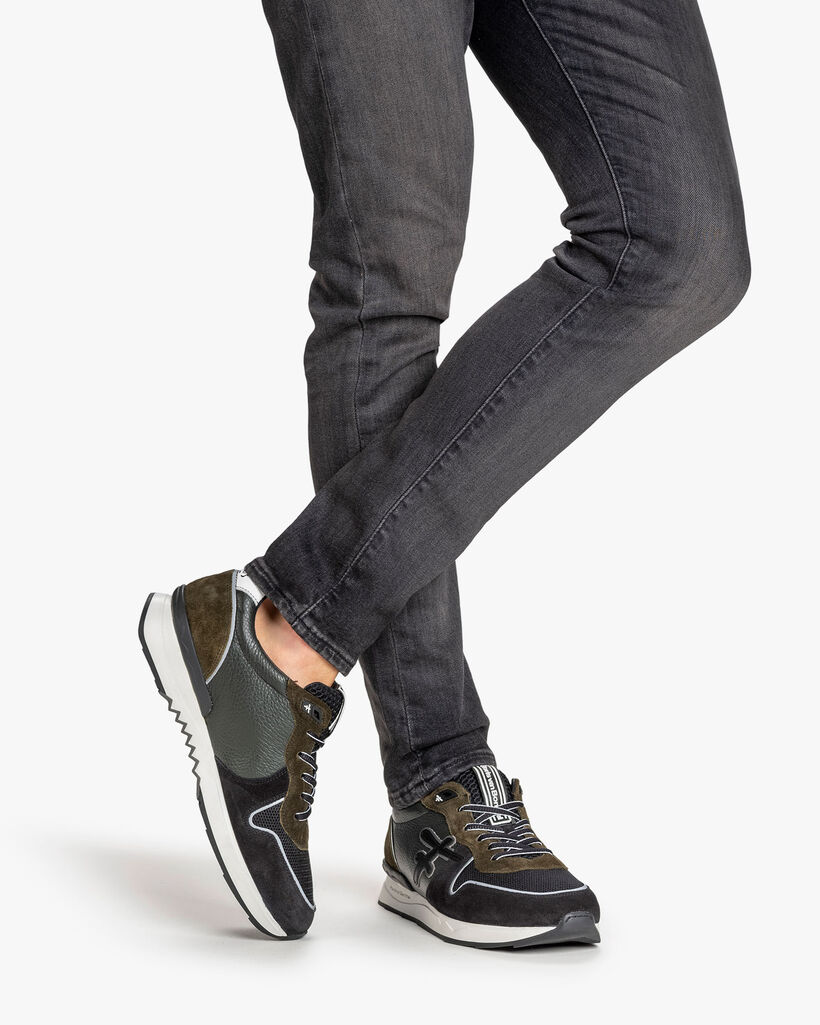 Sneaker suède donkergroen/zwart