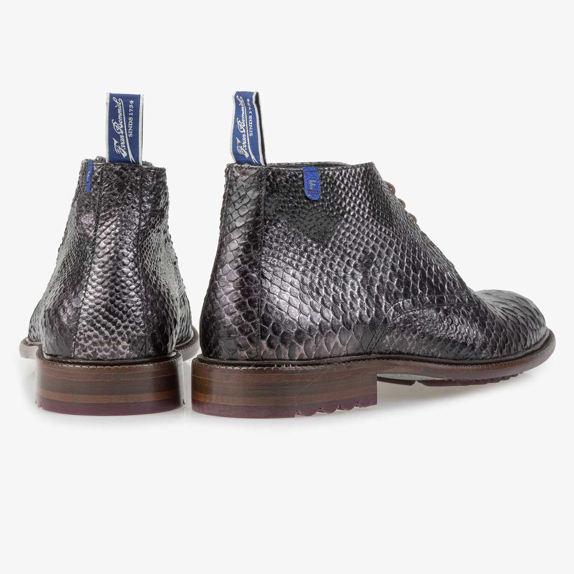 Grey calf leather snake print lace boot