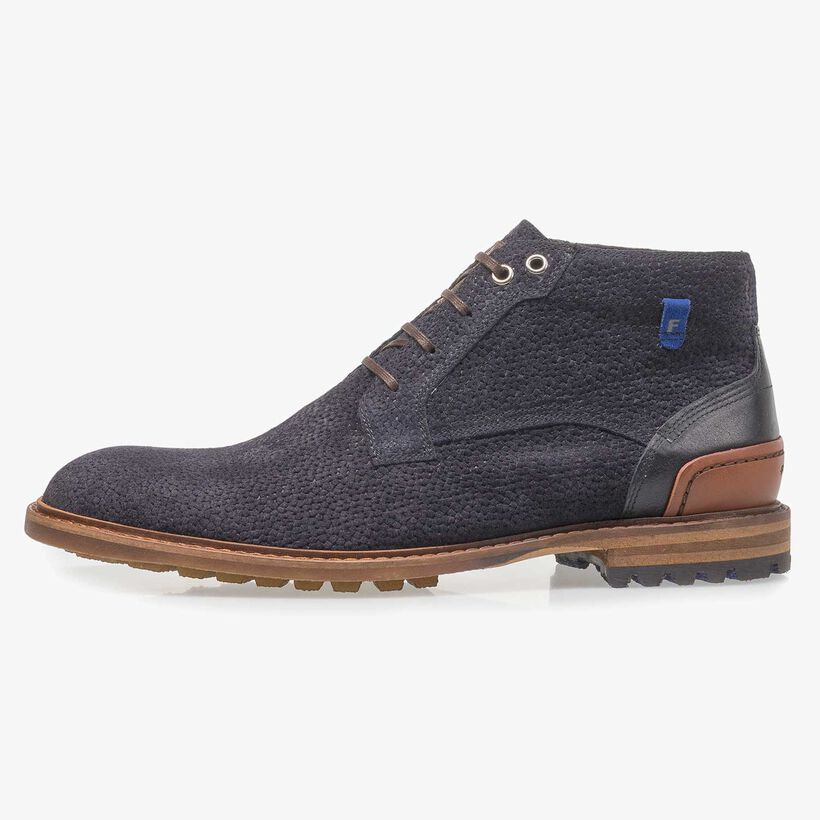 Dark blue printed suede leather lace boot