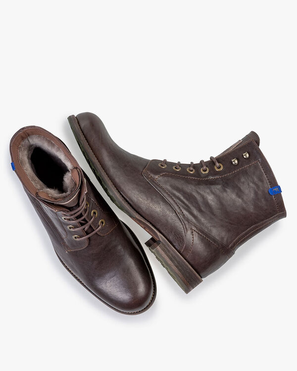 Lambskin lined lace boot dark brown
