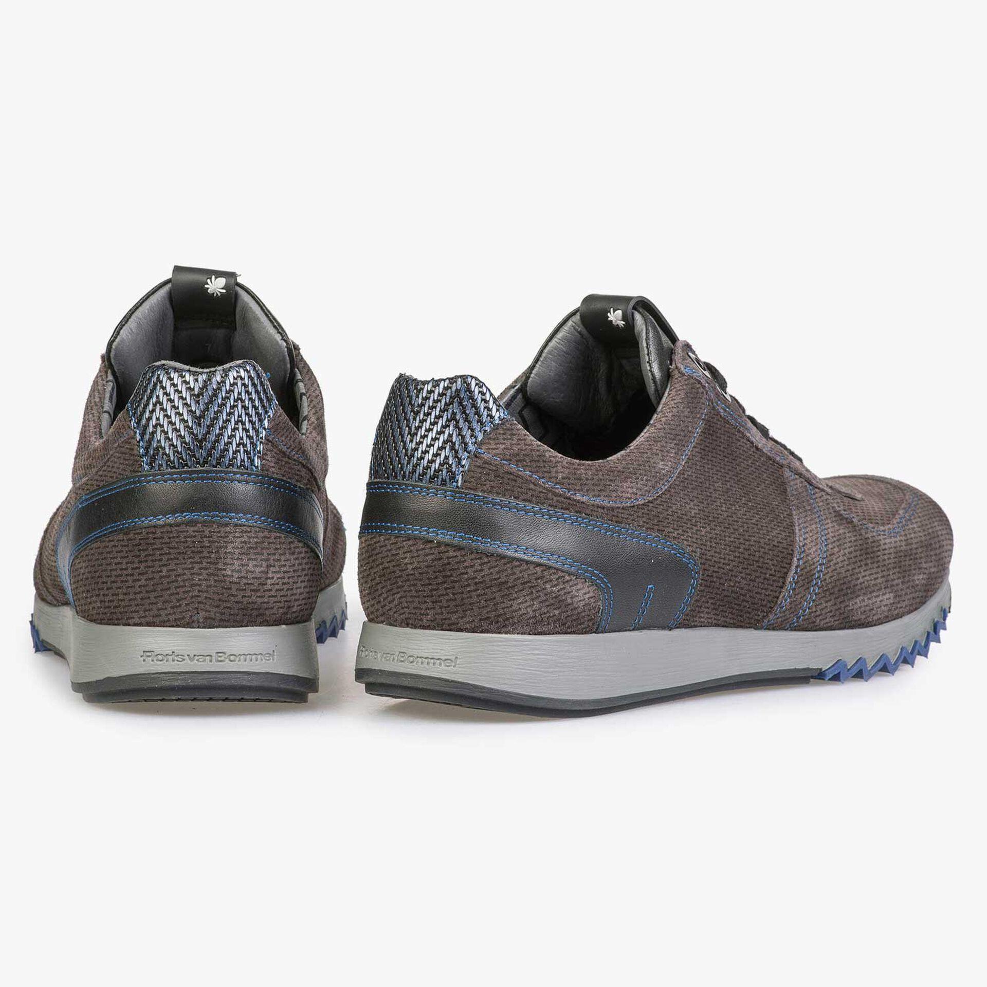 Grijsbruine sneaker met kobaltblauwe details