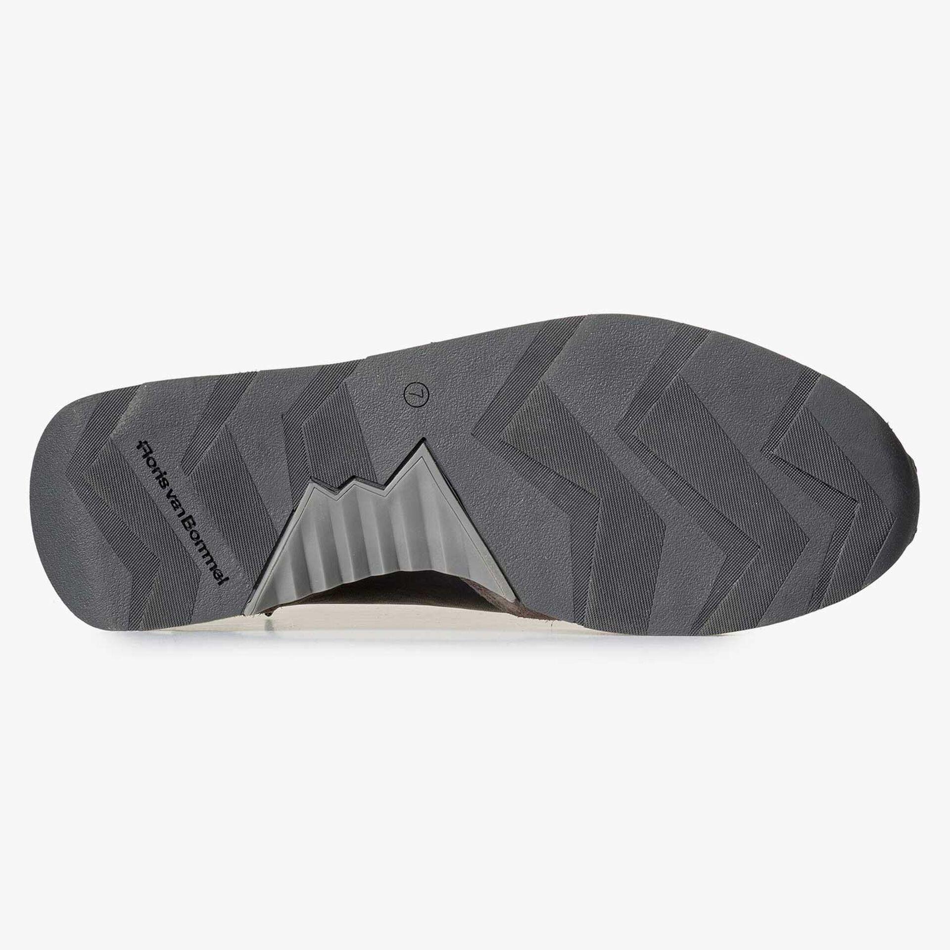 Blauw/ grijsbruine leren sneaker met F logo