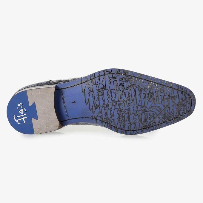 Premium donkerblauwe lakleren veterschoen met print