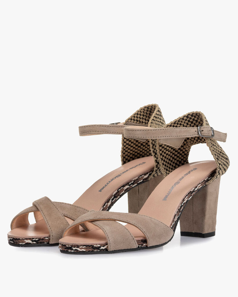Sandal suede leather sand-coloured
