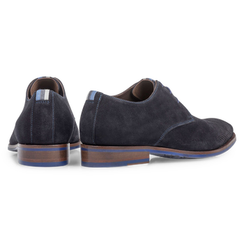 Dark blue suede leather lace shoe with laser print