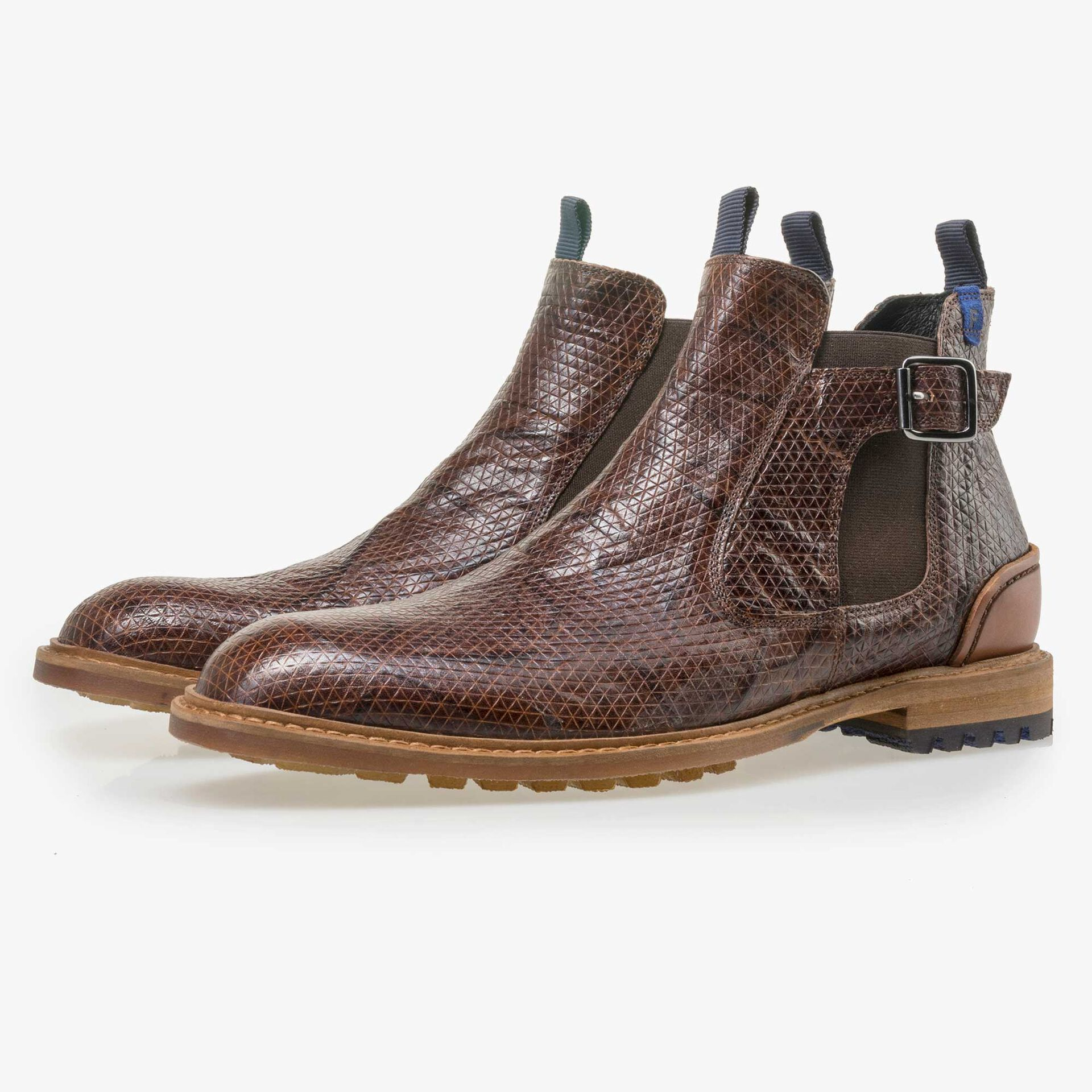 Floris van Bommel men's cognac-coloured leather Chelsea boot finished with a snake print