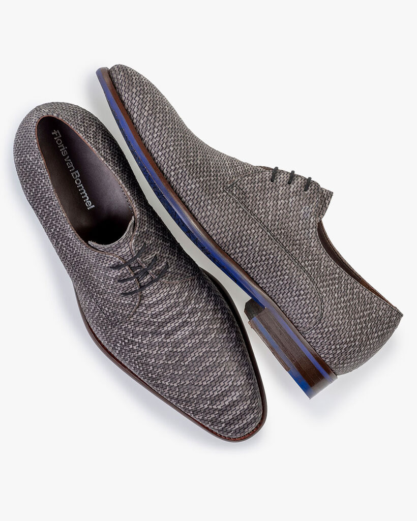 Lace shoe nubuck leather dark grey